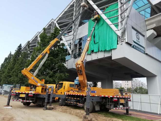 21米直臂式高空作业车助力地铁工程设备